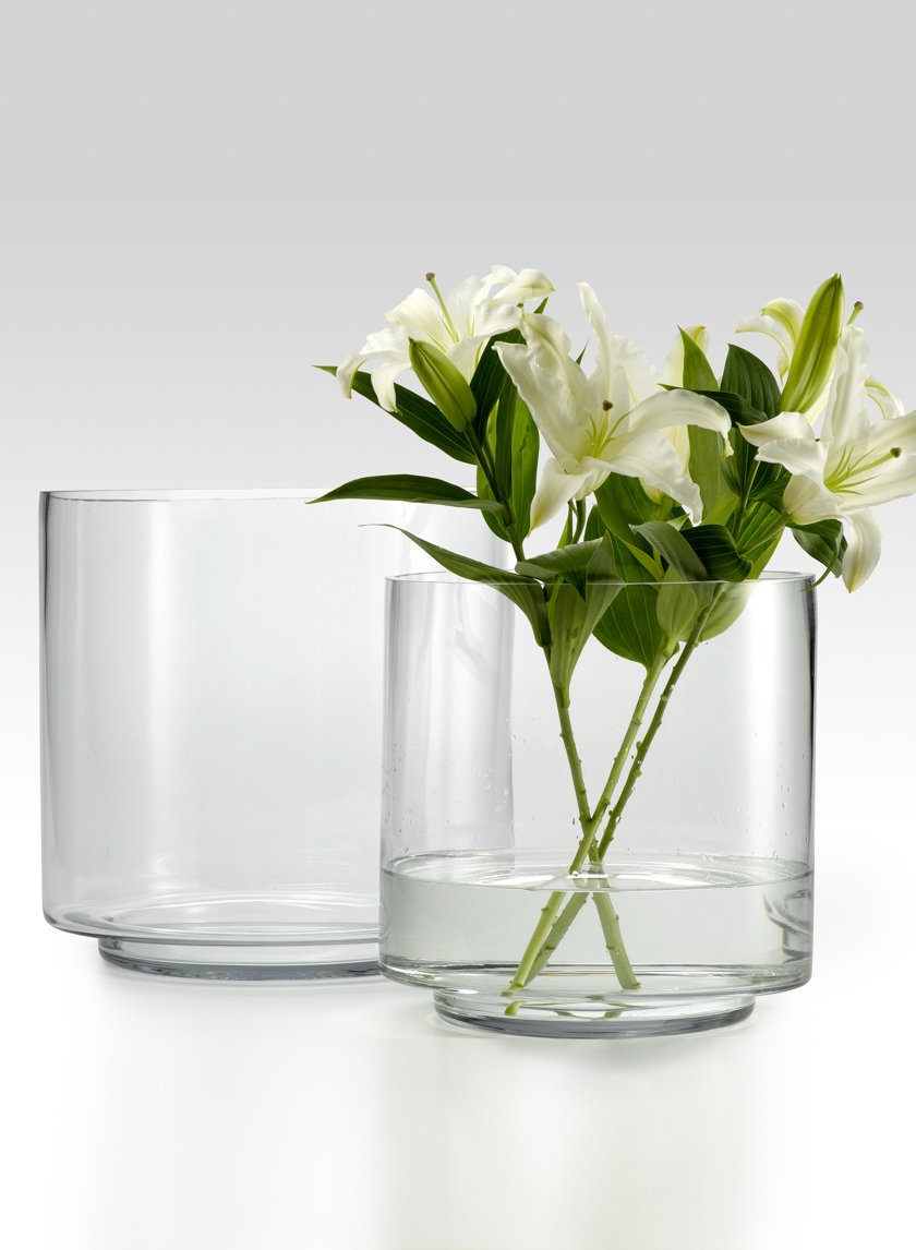 10 x 10- & 12 x 12-inch Round Glass Vase with Raised Bottom