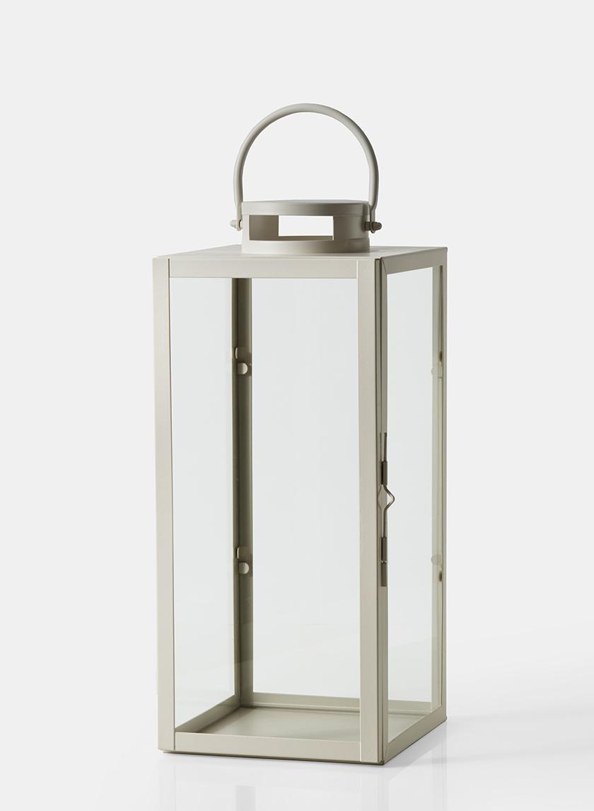 19in antique white square lantern