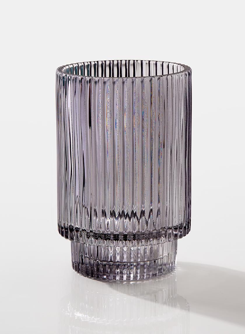 5in Smoke Pleated Glass Votive Holder