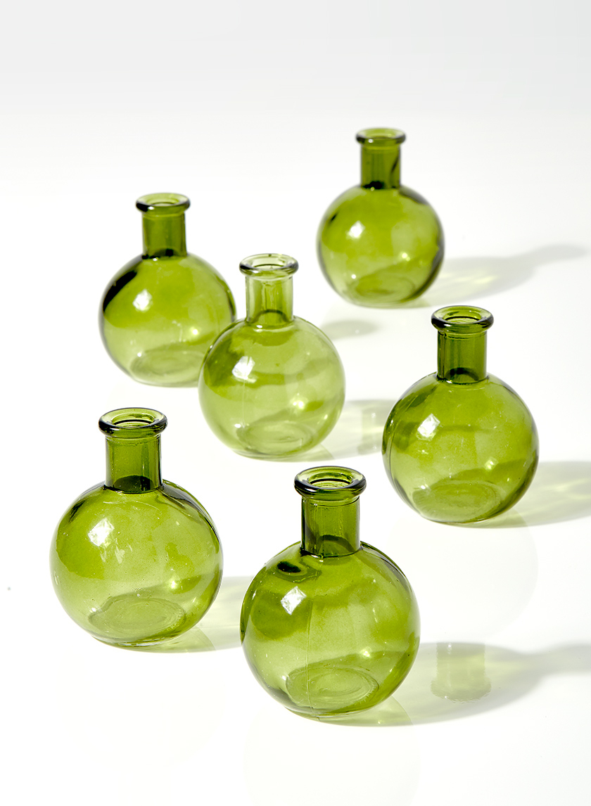 4in Green Ball Bud Vase, Set of 6