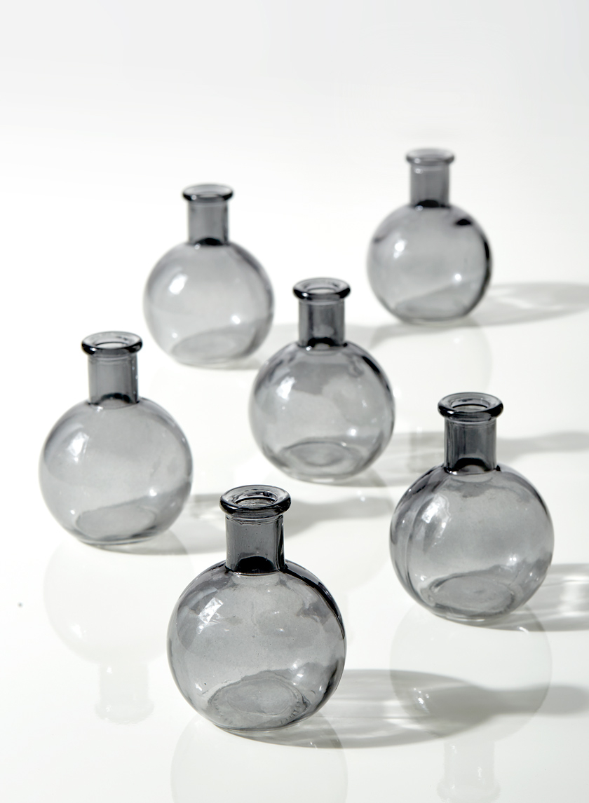 4in Smoke Ball Bud Vase, Set of 6