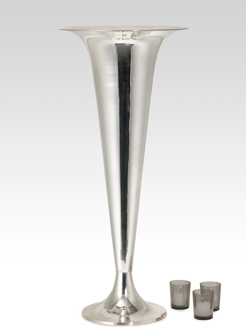 29in Nickel Trumpet Vase