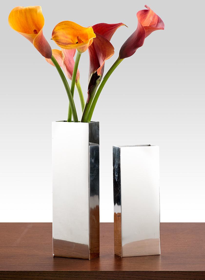 Polished Aluminum Rectangle Vases
