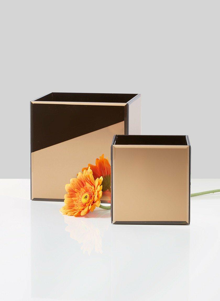 5in & 7in Bevel Edge Amber Mirror Square Vases
