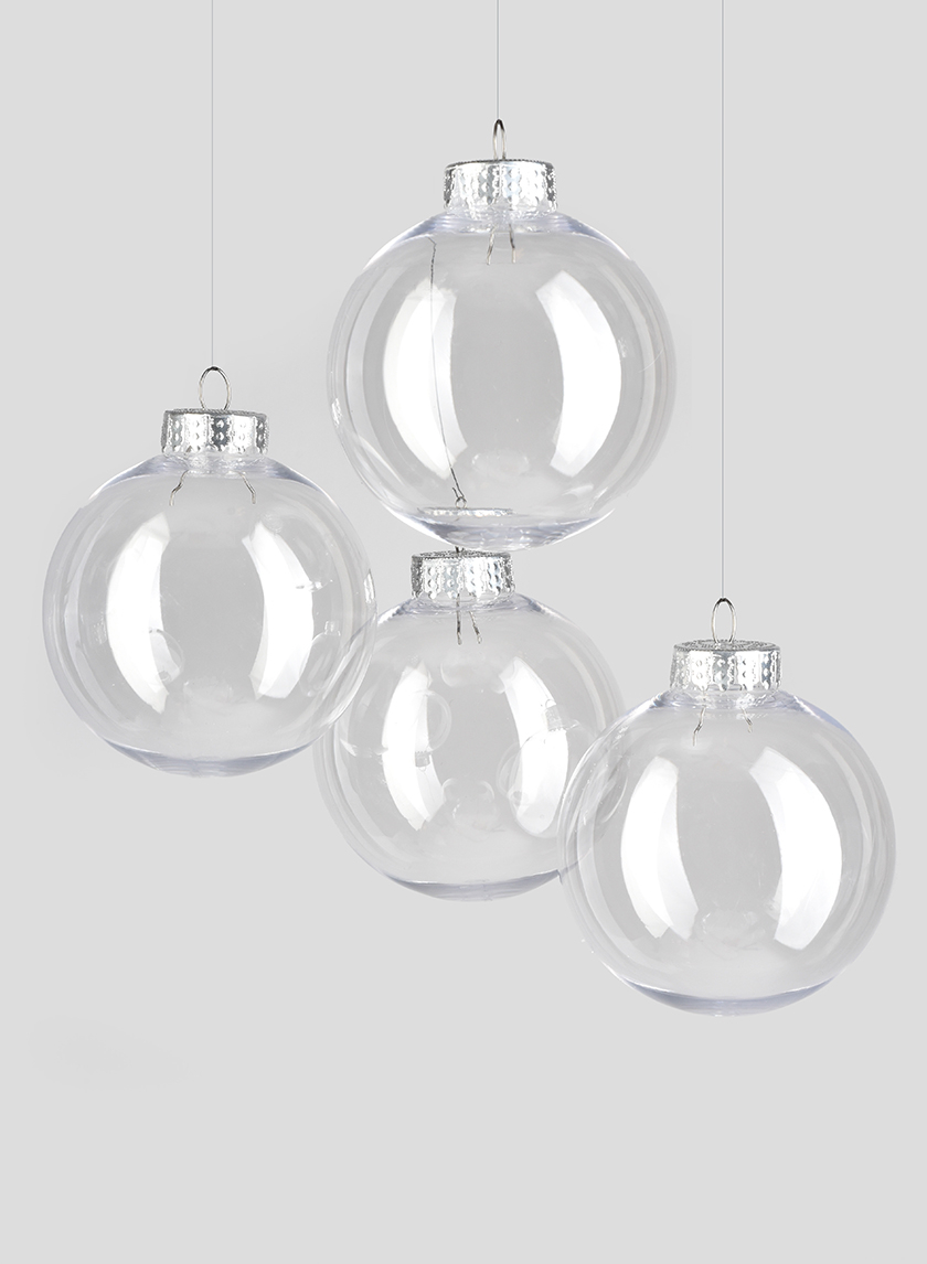3in Clear Plastic Ornament Balls, Set of 4