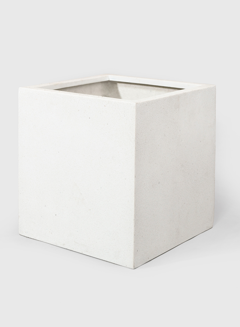 15 3/4in Square Cream Fiberstone Pot