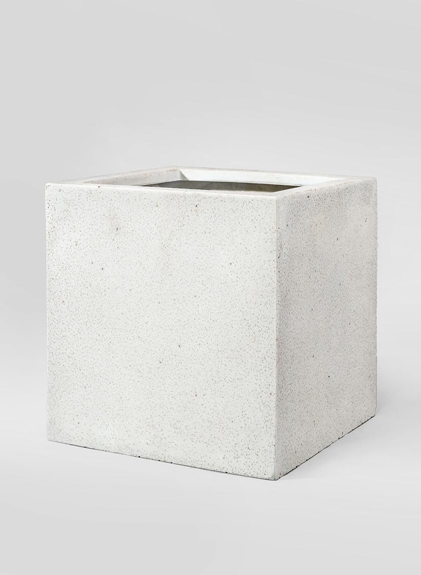 11 3/4in Square Cream Fiberstone Pot