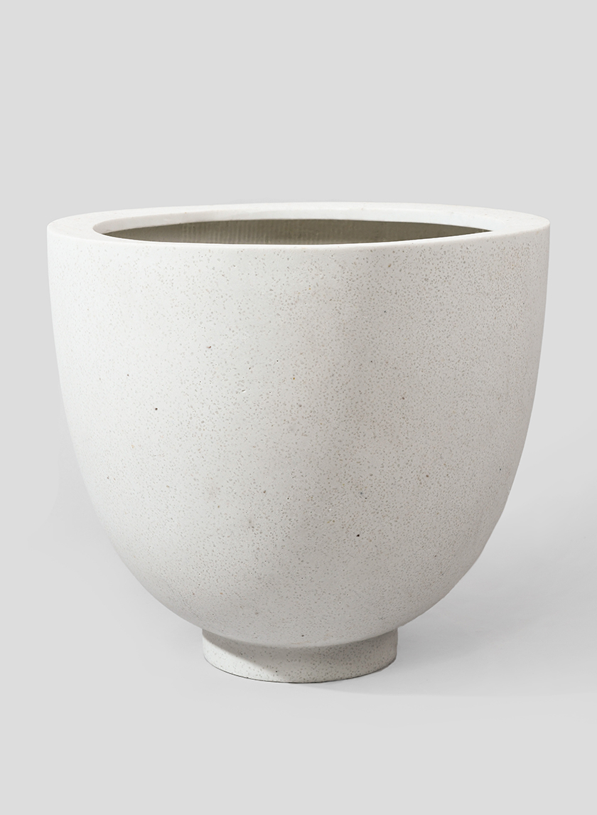18 1/2in Round Cream FIberstone Pot