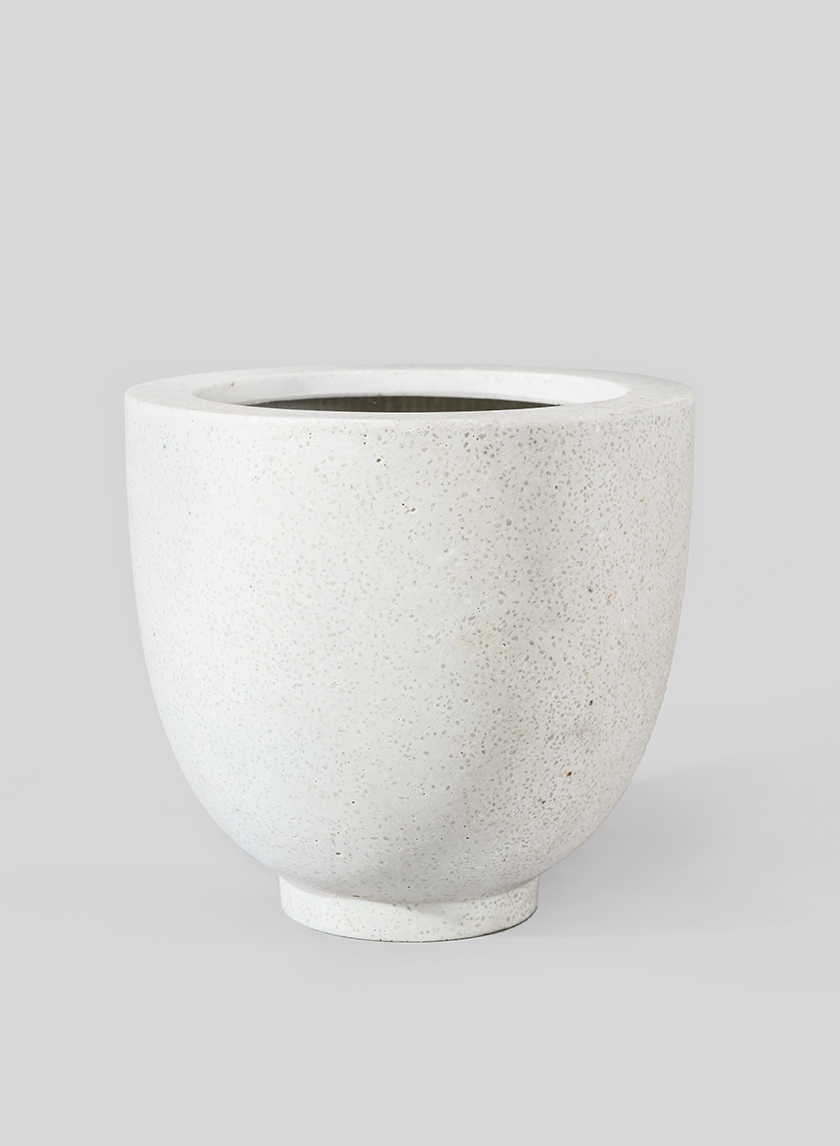 10 1/4in Round Cream Fiberstone Pot