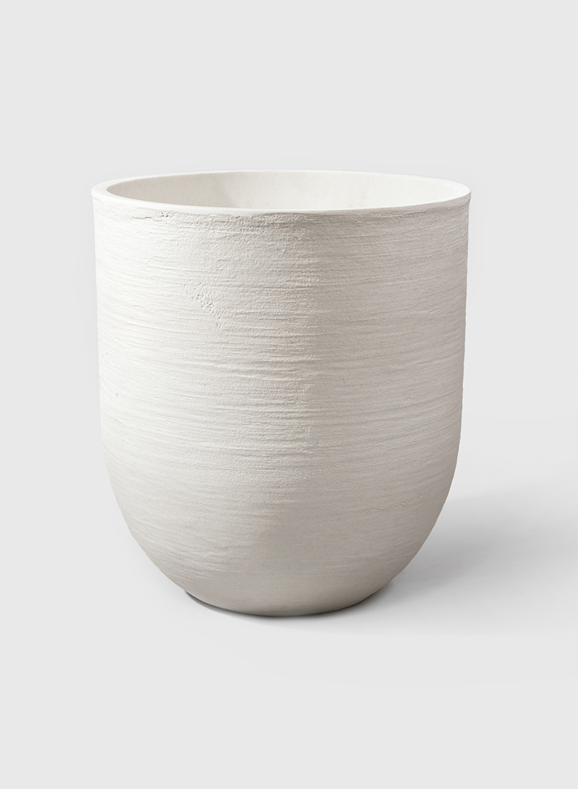 18 1/4in Sand Fiber Round White Pot