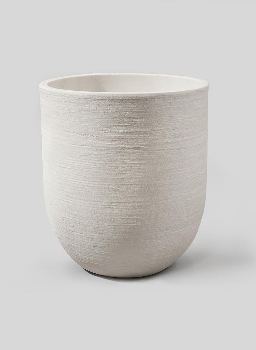 14 1/4in Sand Fiber Round White Pot