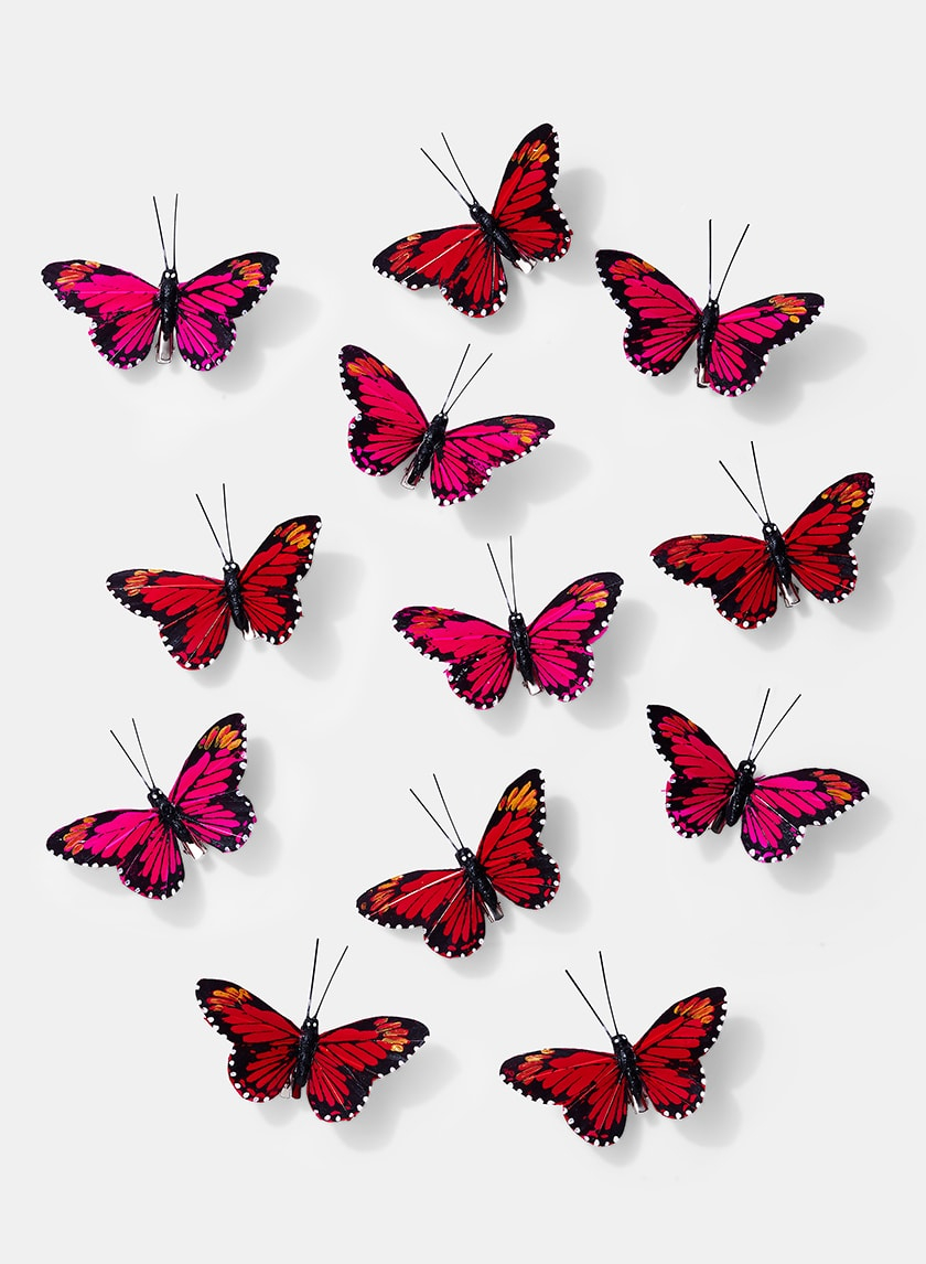 3 1/2in Red & Hot Pink Monarch Butterflies, Set of 12 24905