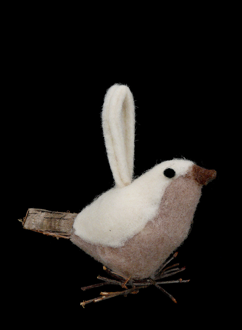 6in White & Camel Felt Bird Ornament
