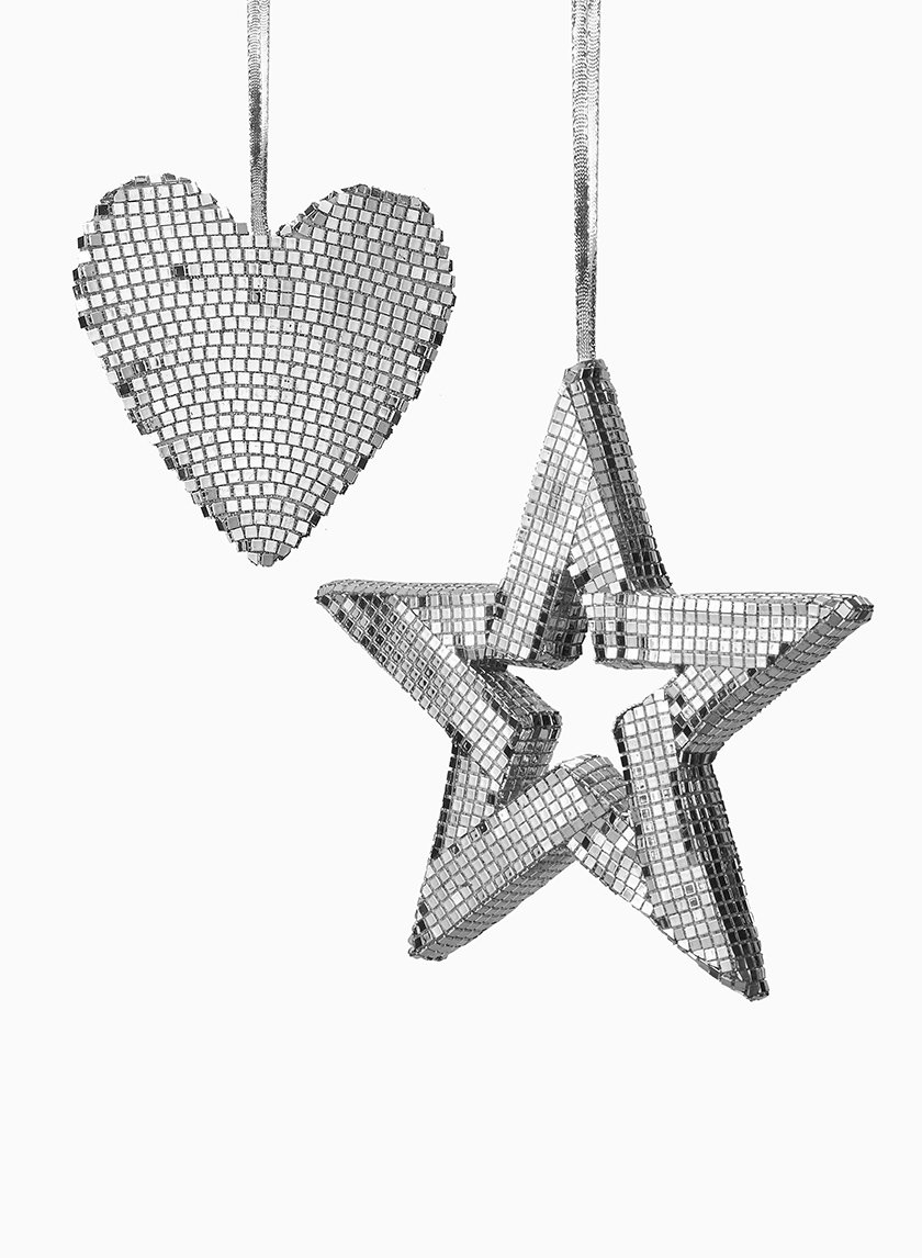 6 1/2in Silver Mirror Heart Ornament