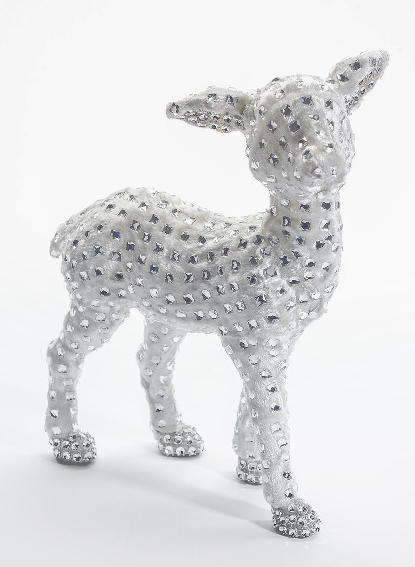 8in Beaded White Velvet Deer