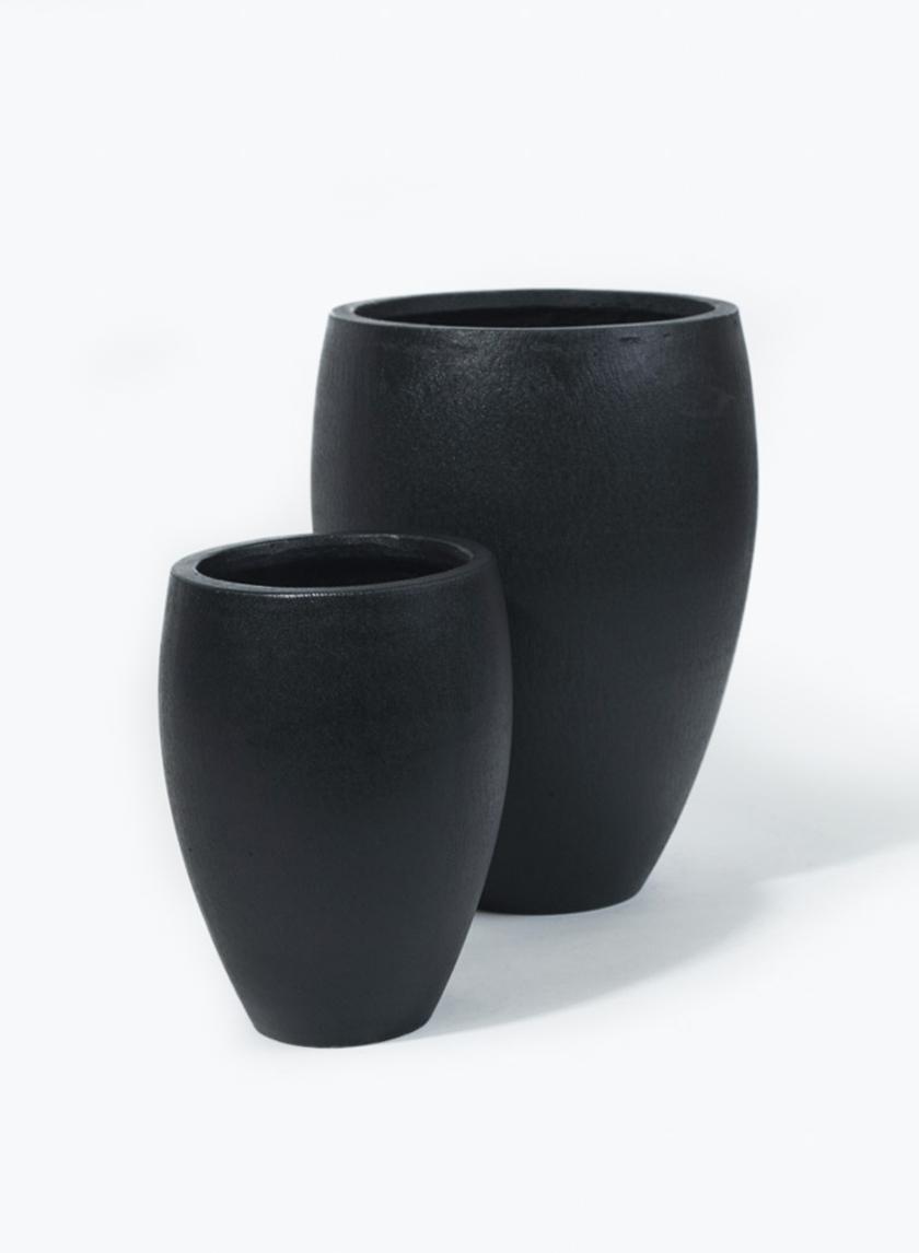 7 1/2 & 10 1/4in Round Black Ficonstone Pot
