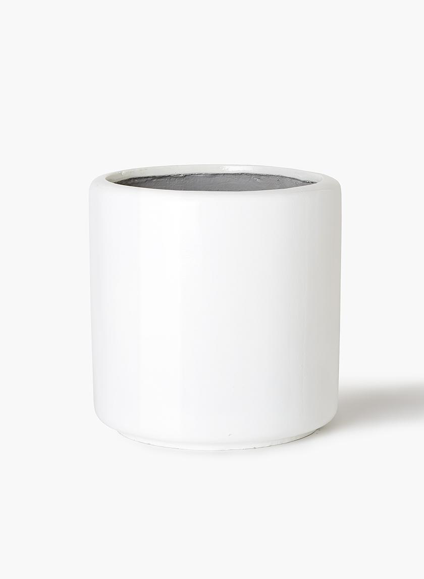 16in Round White Glazed Light Ceramic Round Pot