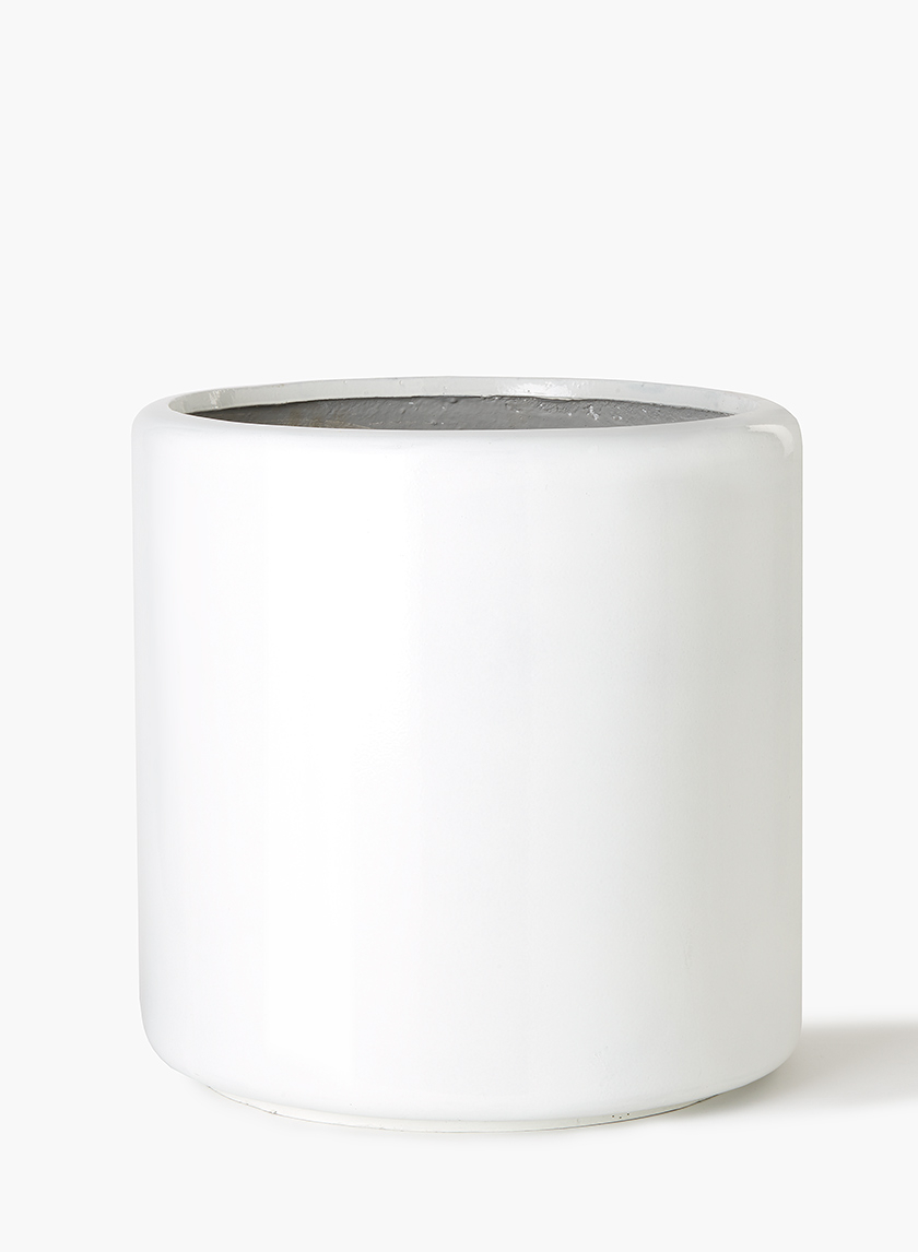 20in Round White Glazed Light Ceramic Round Pot