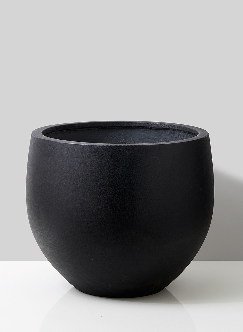 20in Black Ficonstone Round Pot