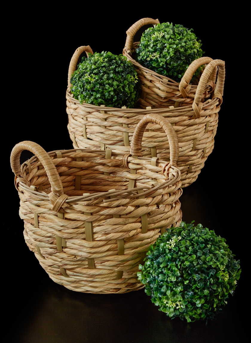 Single Roll Hyacinth Baskets With Handles