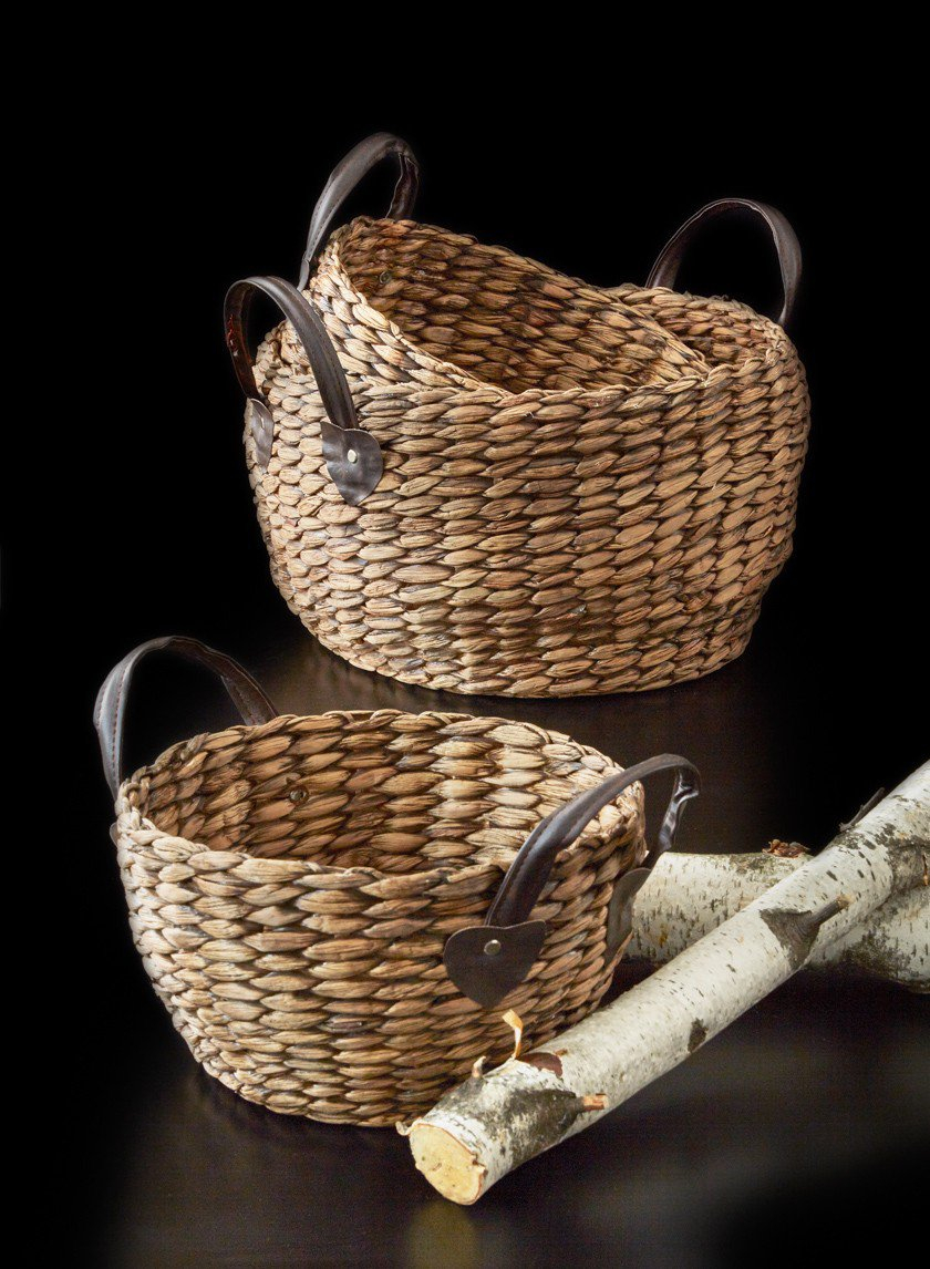 12in Single Roll Hyacinth Basket With Leather Handles