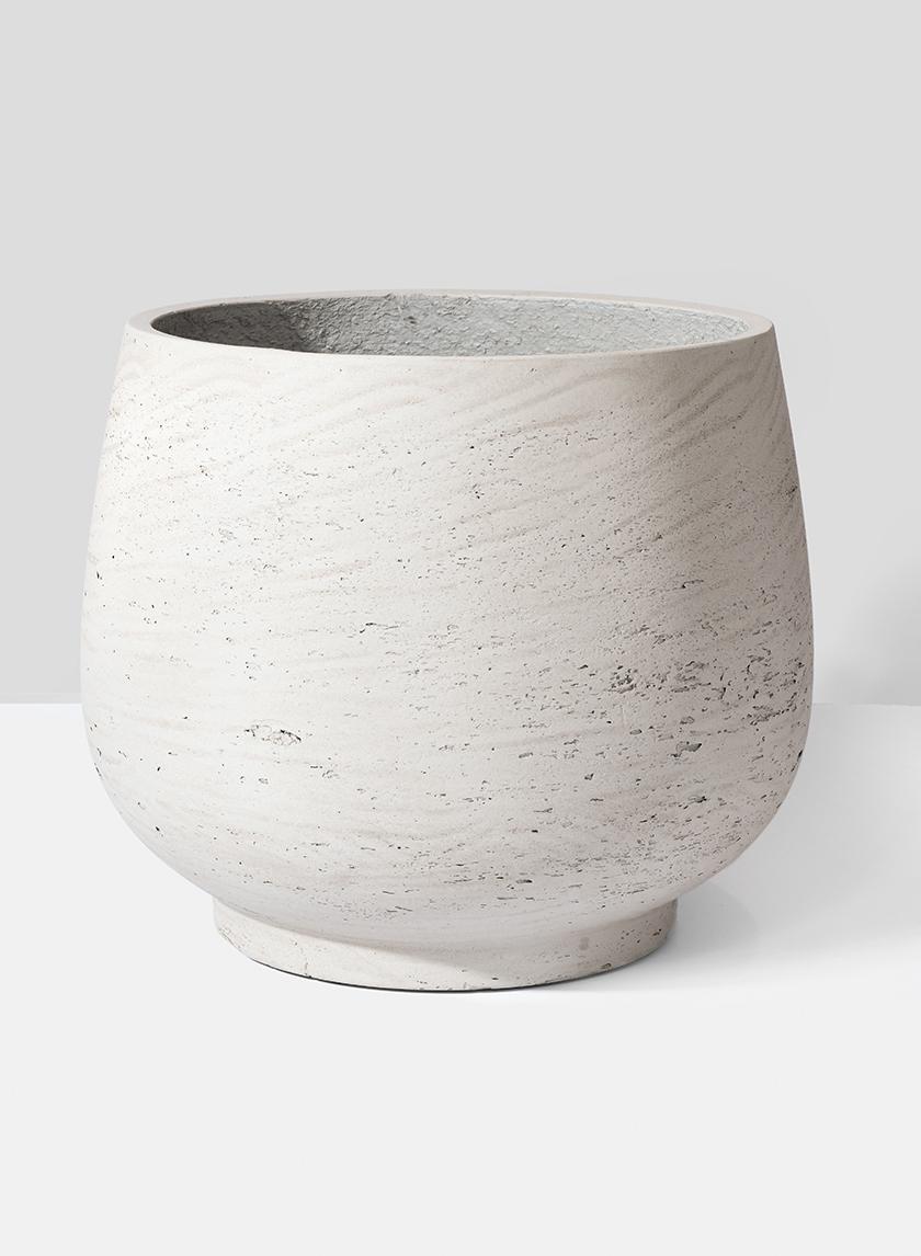11 1/2in Round Grey Cement Pot