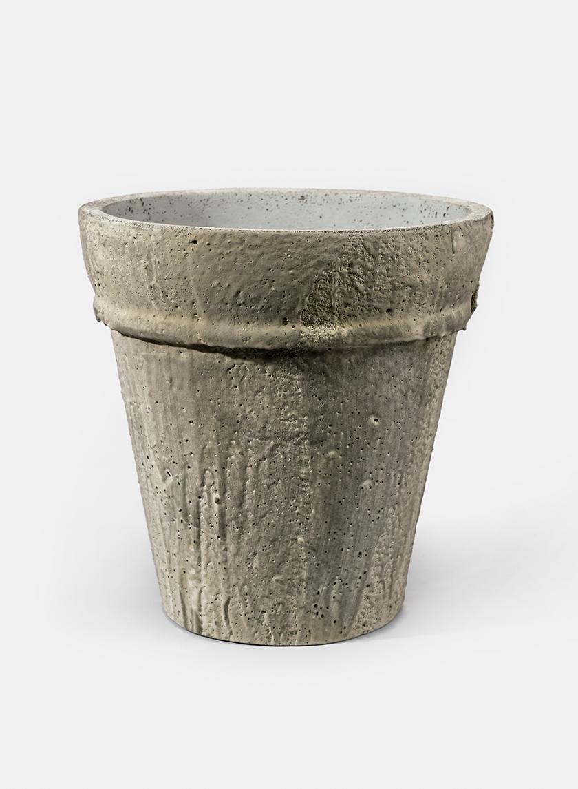 12in Round Rustic Cream Cement Pot