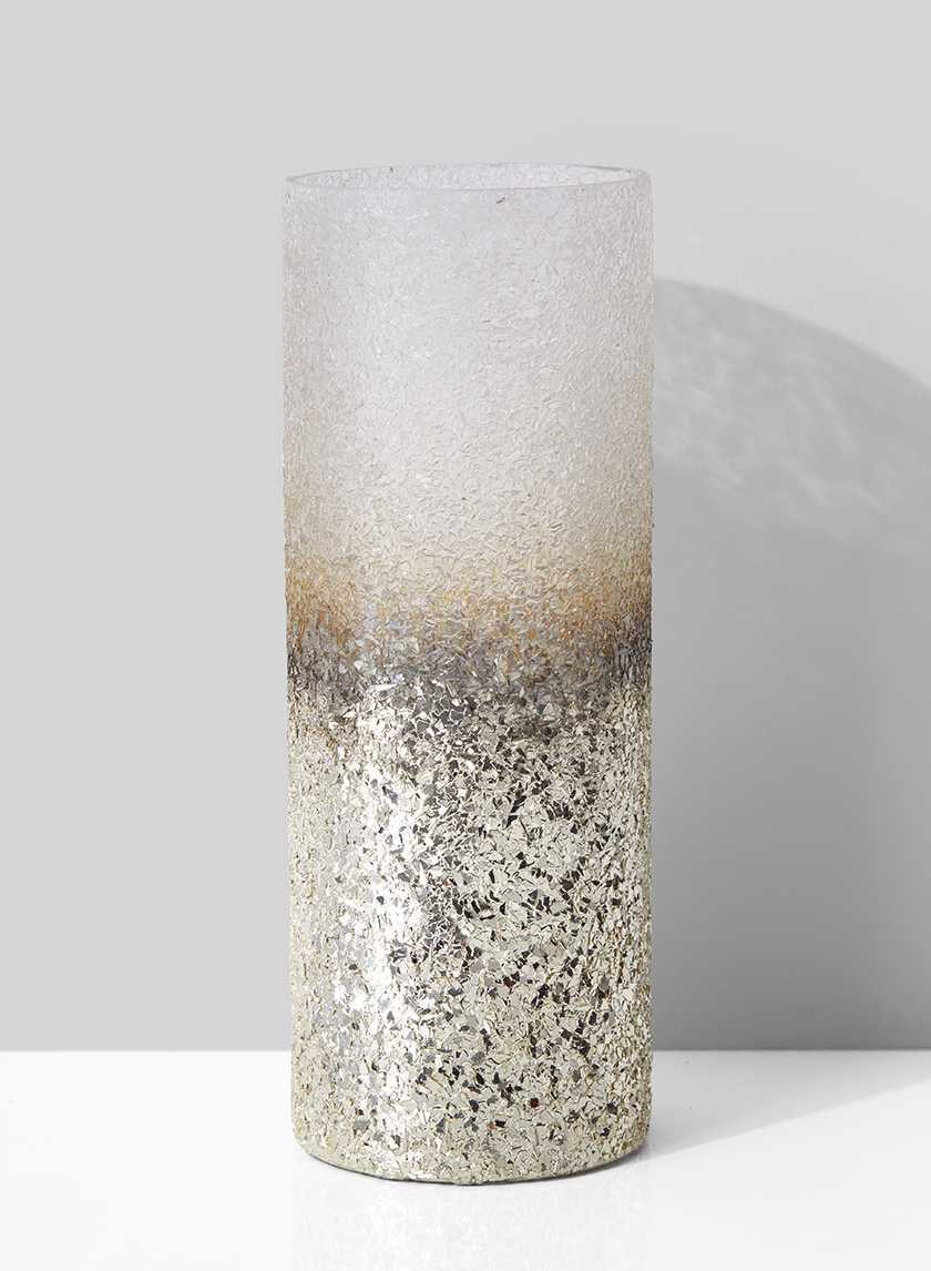 3 1/2in x 9in Pewter and Rust Ombre Glass Vase