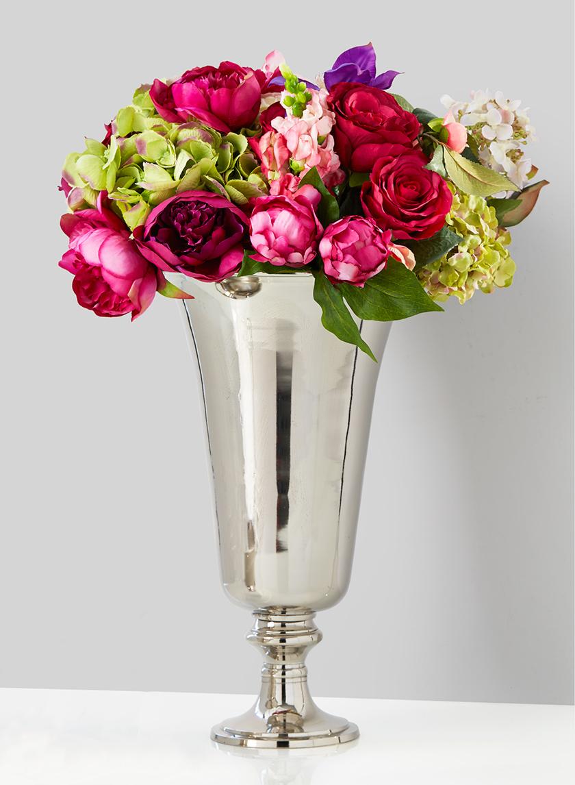 nickel pedestal wedding centerpiece vase