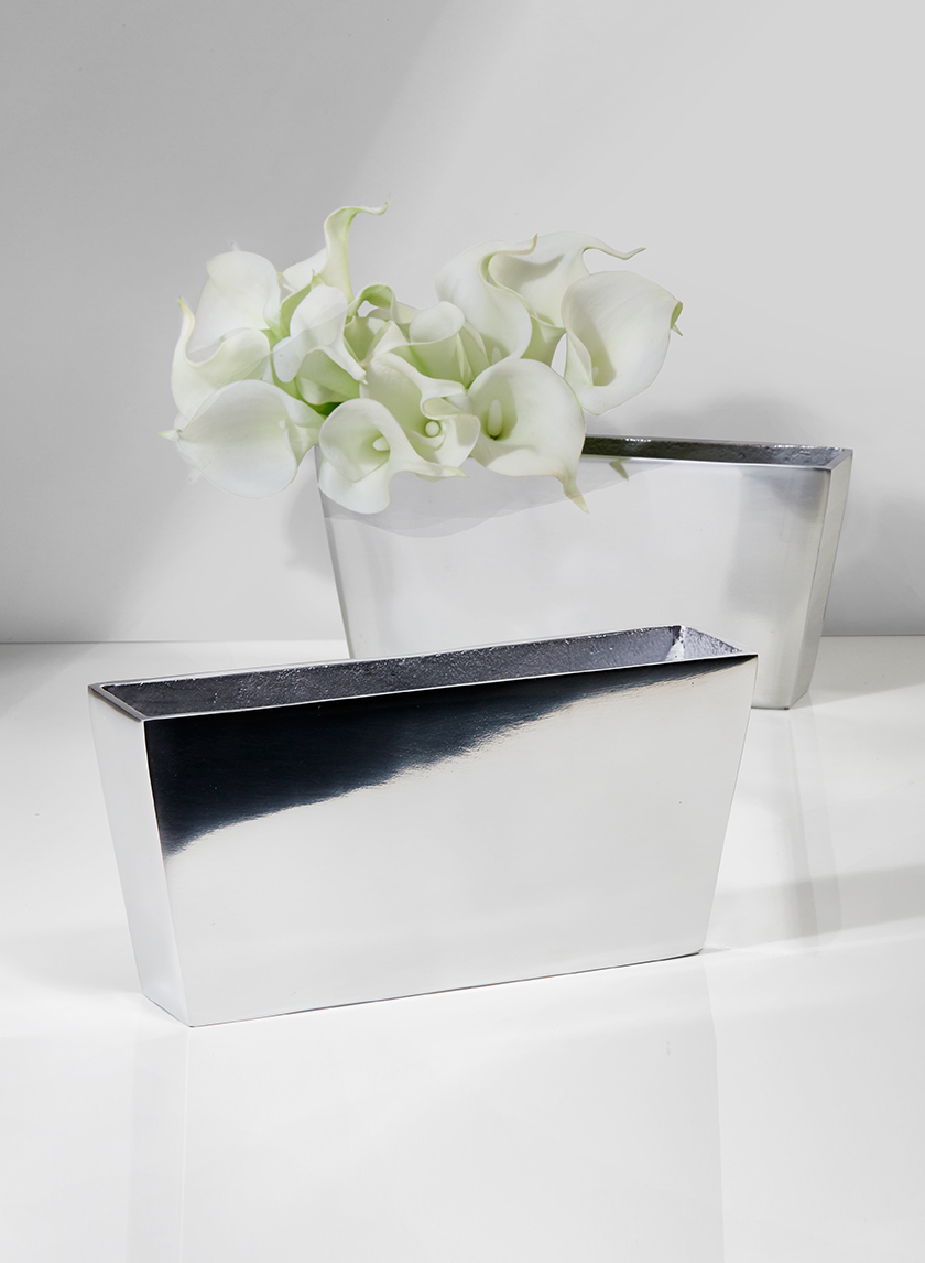 9 1/2in Polished Silver Aluminum Rectangular Vase