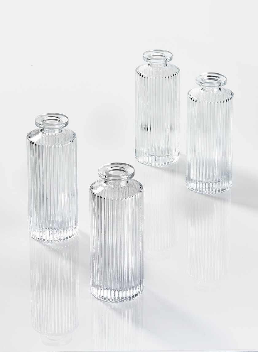 Clear Pleated Glass Bottle Bud Vase, Set of 4