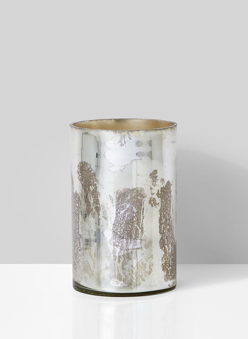 vintage look silver glass vase