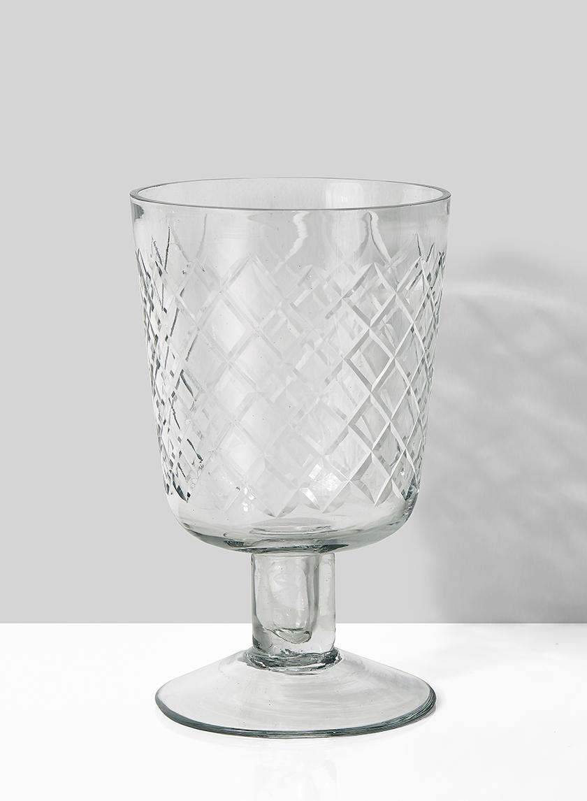 3 1/4 x 5in Diamond Cut Glass Pedestal Vase