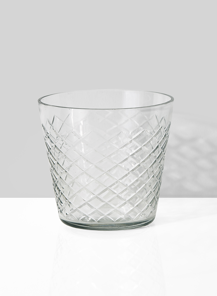 crystal look diamond cut round glass vase