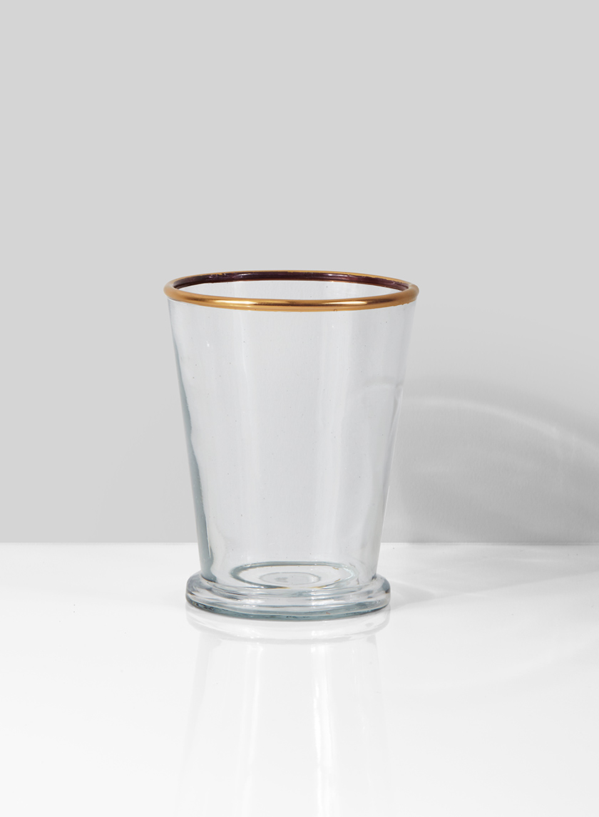 glass julep cup vase with gold rim