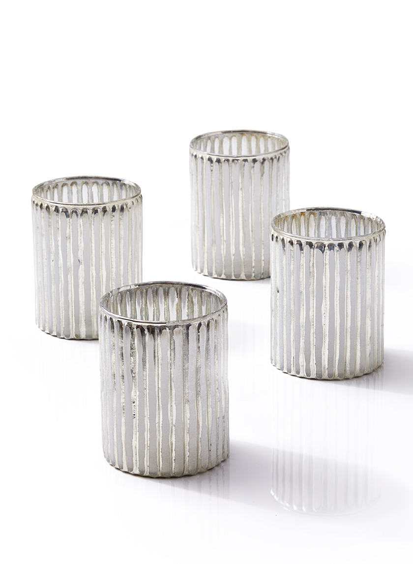 4in Silver Corrugated Glass Votive Holder