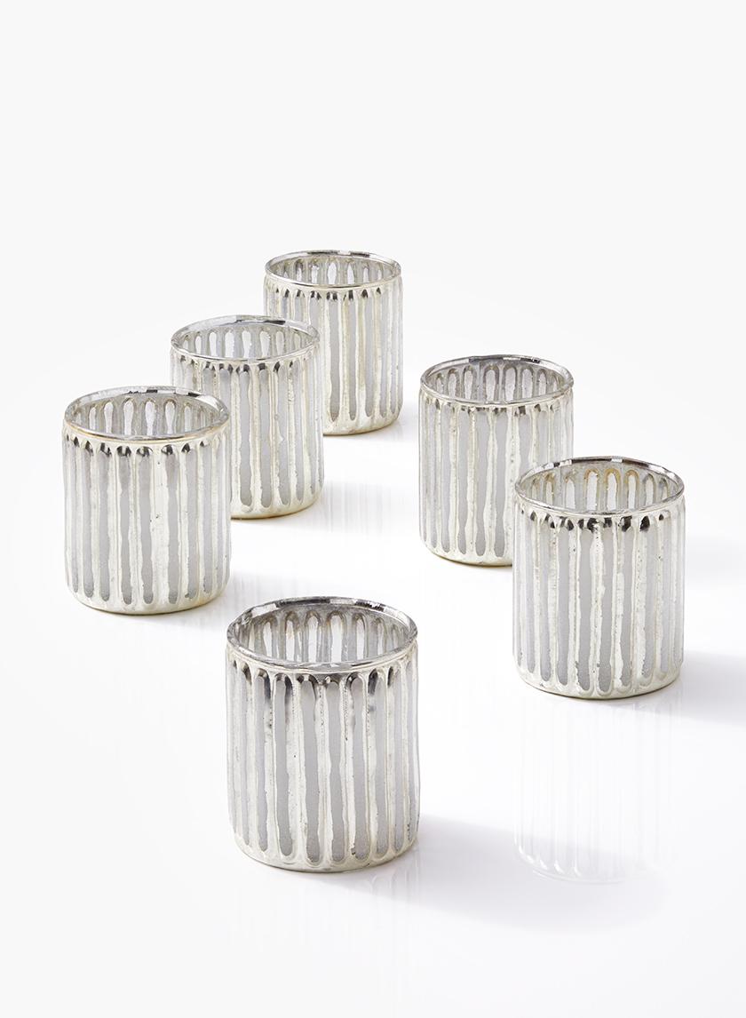 3in Silver Corrugated Glass Votive Holder, Set of 6
