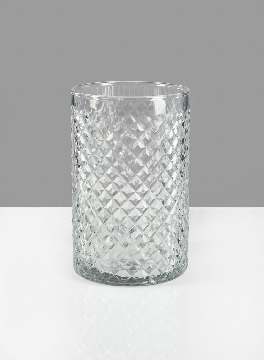 4 X 6in  Diamond Cut Glass Round Vase