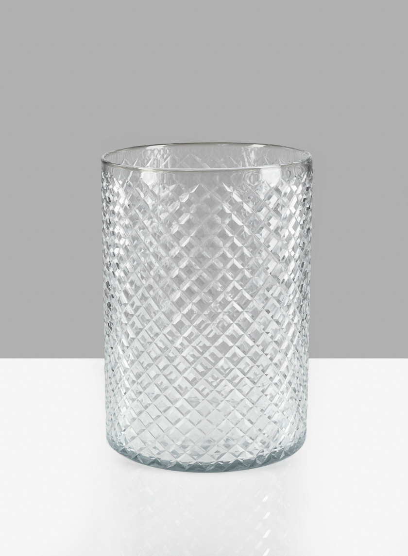 9in H Diamond Cut Glass Round Vase