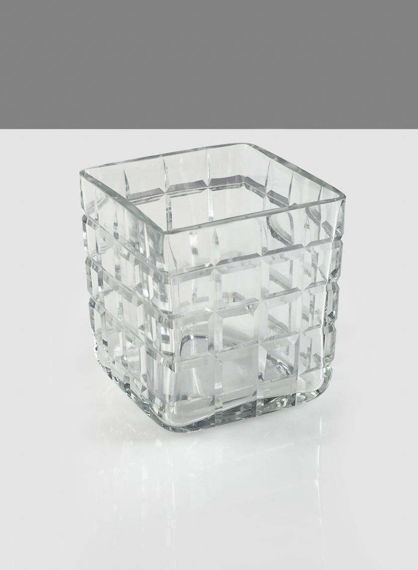 3 1/4in Square Cut Cube Glass Vase