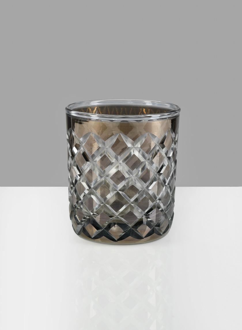 4in H Diamond Cut Smoke Glass Vase
