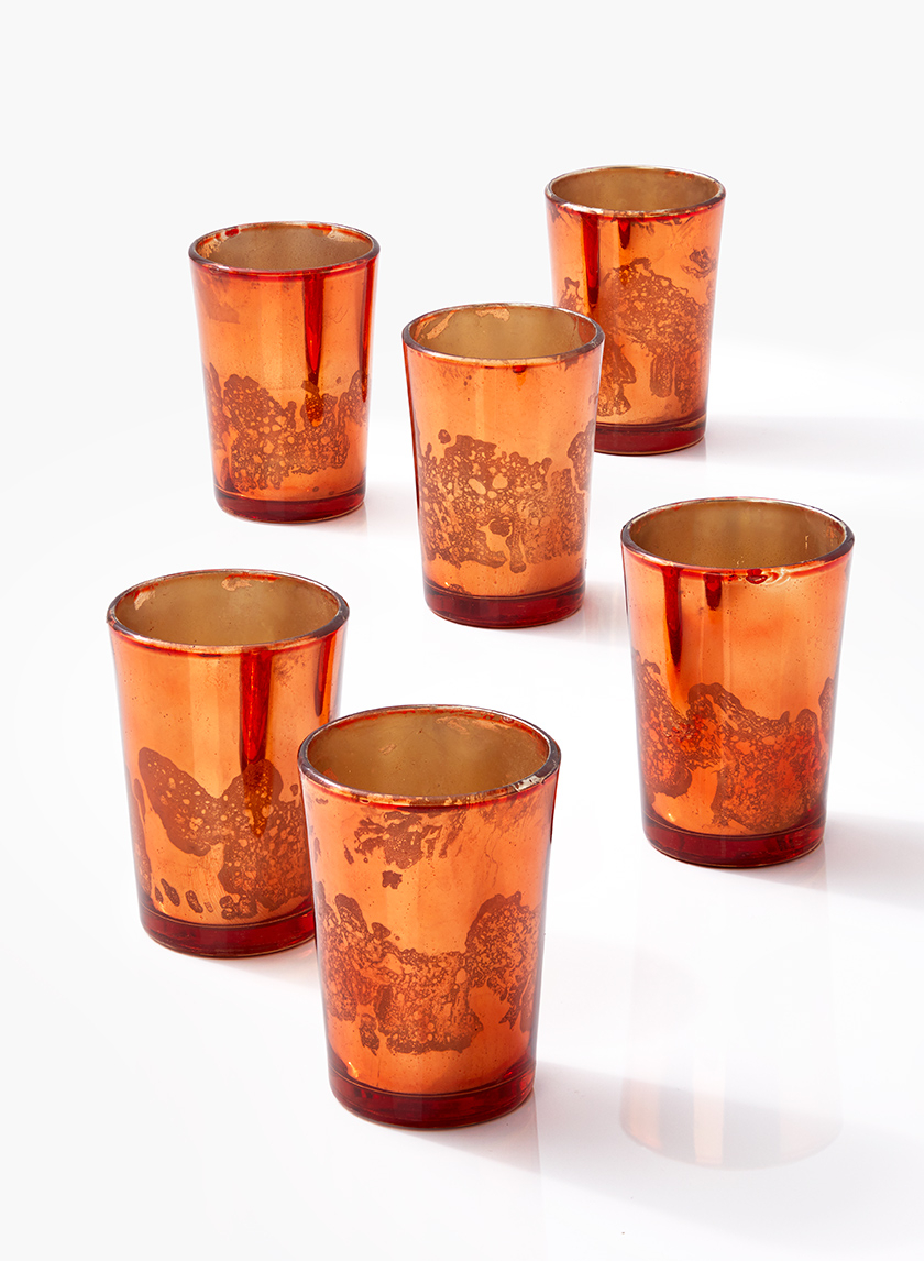 3 1/2in Antique Copper Tapered Votive Holder, Set of 6