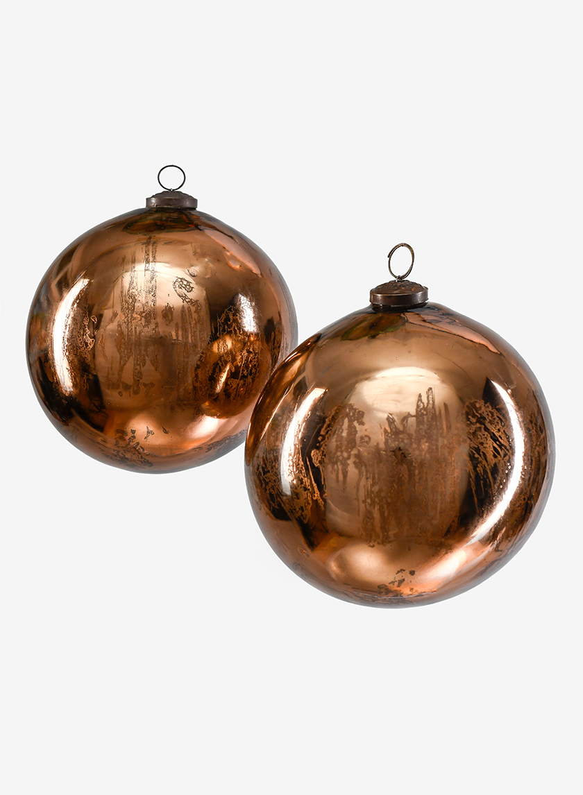 6in Antique Bronze Glass Ball Ornament, Set of 2