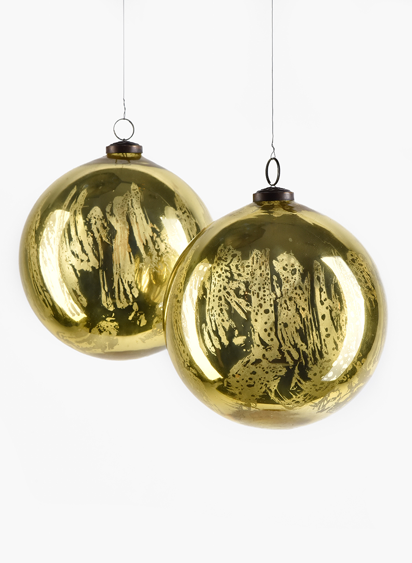 6in Antique Gold Glass Ornament Ball, Set of 2
