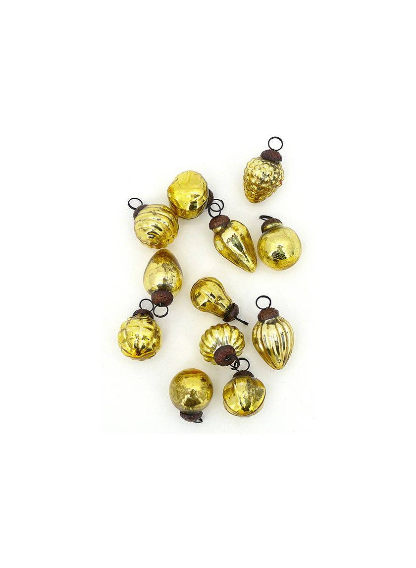 Mini Light Gold Mercury Glass Ornaments, Set of 12