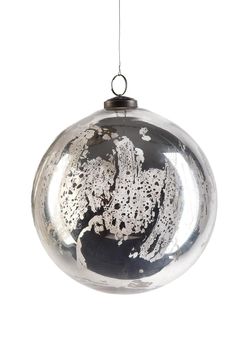 8in Antique Silver Glass Ornament Ball