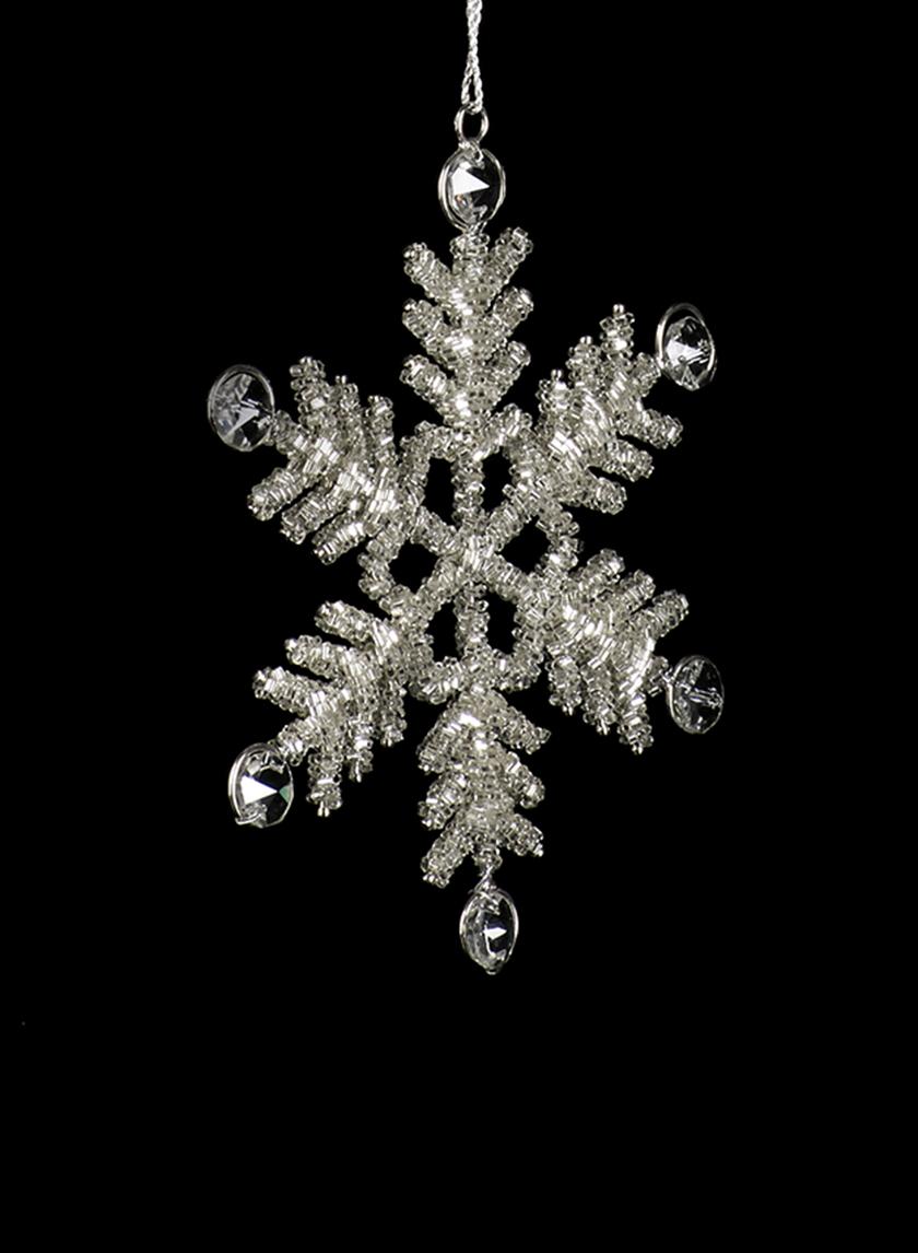 glass beaded crystal snowflake Christmas ornament