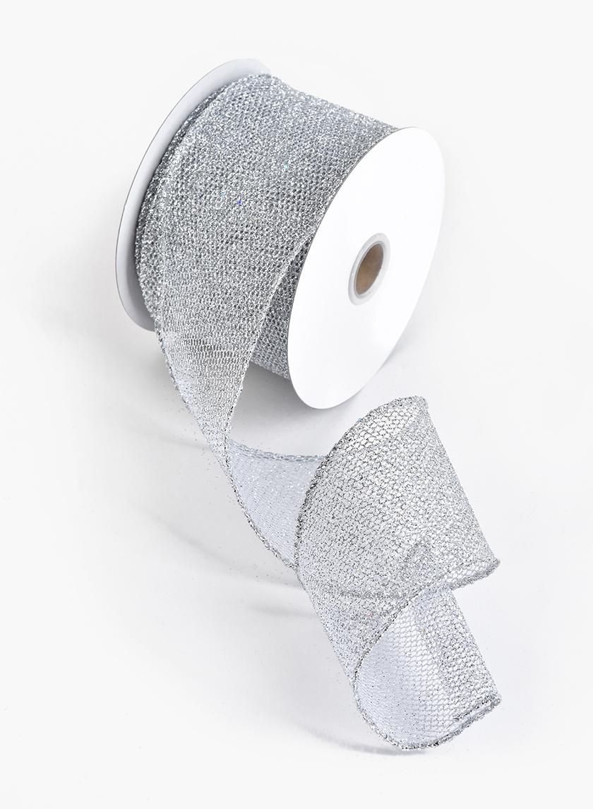 2 1/2in White & Silver Laser Glitter Grid Ribbon