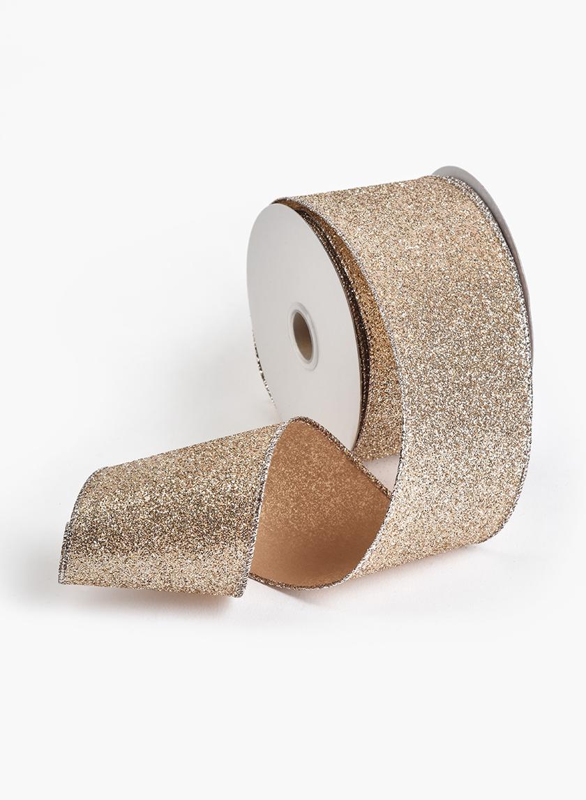 2 1/2in Flaxen Glitter Ribbon