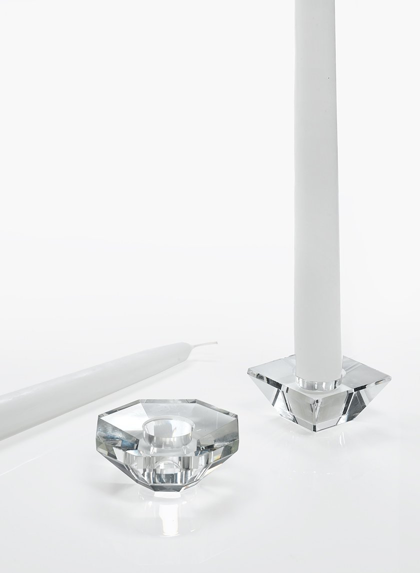 2 1/2in Octagon Crystal Taper Holder